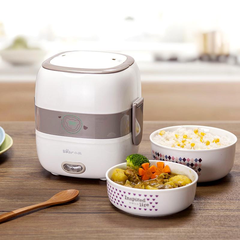 小熊電熱飯盒雙層陶瓷迷你加熱飯盒可插電蒸煮保溫飯盒蒸飯熱飯器