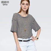 BI Lin the new 2015 Europe summer and sunny in sleeve stripe slim shirt women's casual loose knit t shirt