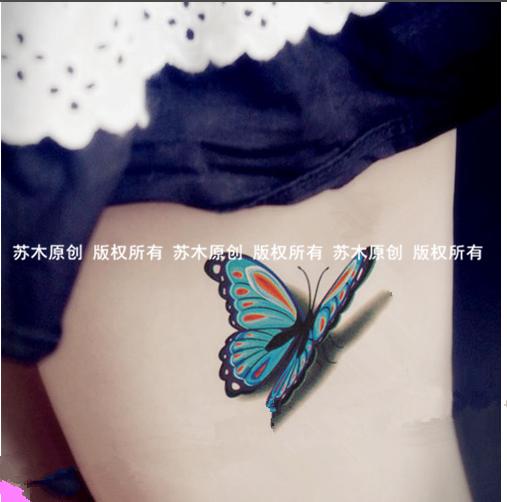 蓝色蝴蝶 纹身贴防水 女 持久遮掩伤痕 性感刺青3d手臂纹身贴纸