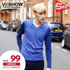 Viishow2015 spring Turtleneck Sweater leisure sweater v-neck pullovers men's slim fit sweater tide