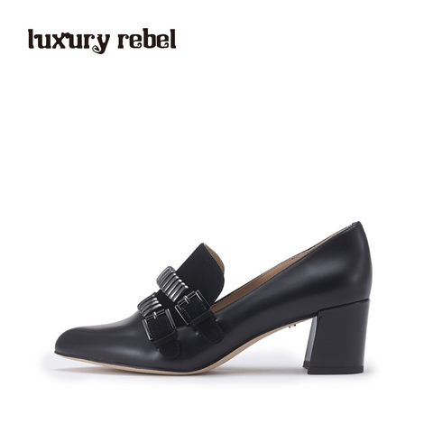 luxury rebel 2017春新品复古百搭粗跟女单鞋L71150153