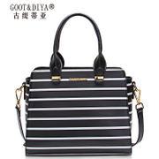Gu Ti di ya leather women bag 2015 new tides in autumn and winter fashion hit the color black and white striped shoulder bag