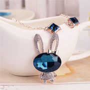 Postal Blue Bunny long necklace Korea jewelry cute new short money chain fashion women