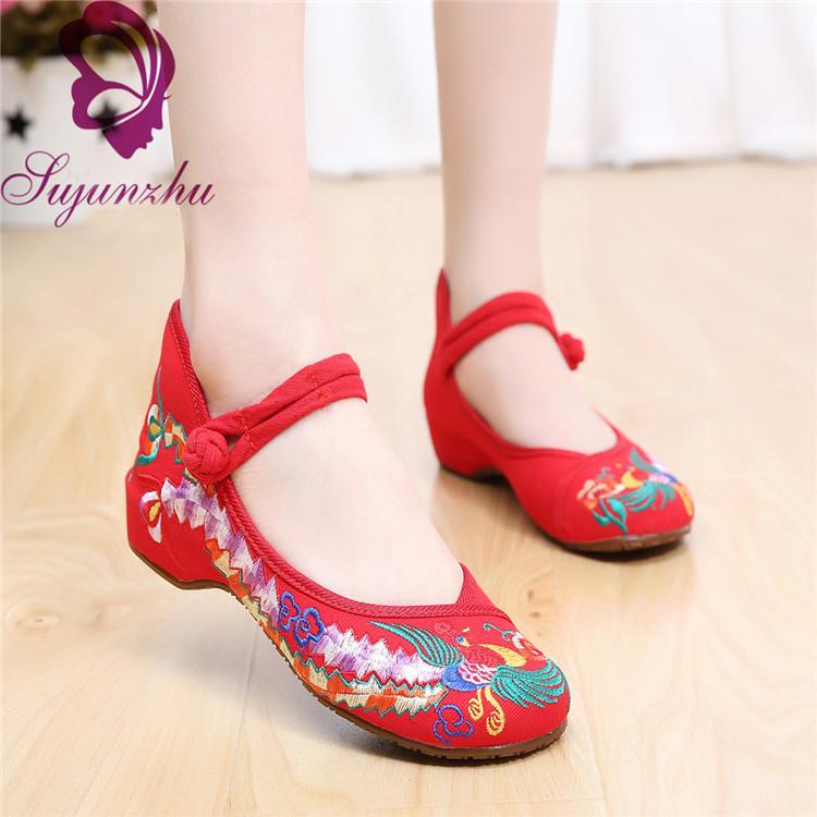 16 老北京女布鞋廣場舞鞋舞蹈鞋春秋民族風繡花鞋內增高跳舞鞋