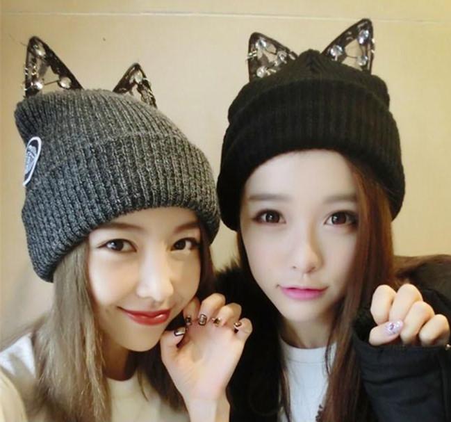Хан Guochao кружева горный хрусталь милый кот уши дьявола рога вязать шерсти шляпу женщин осень зима новый стиль