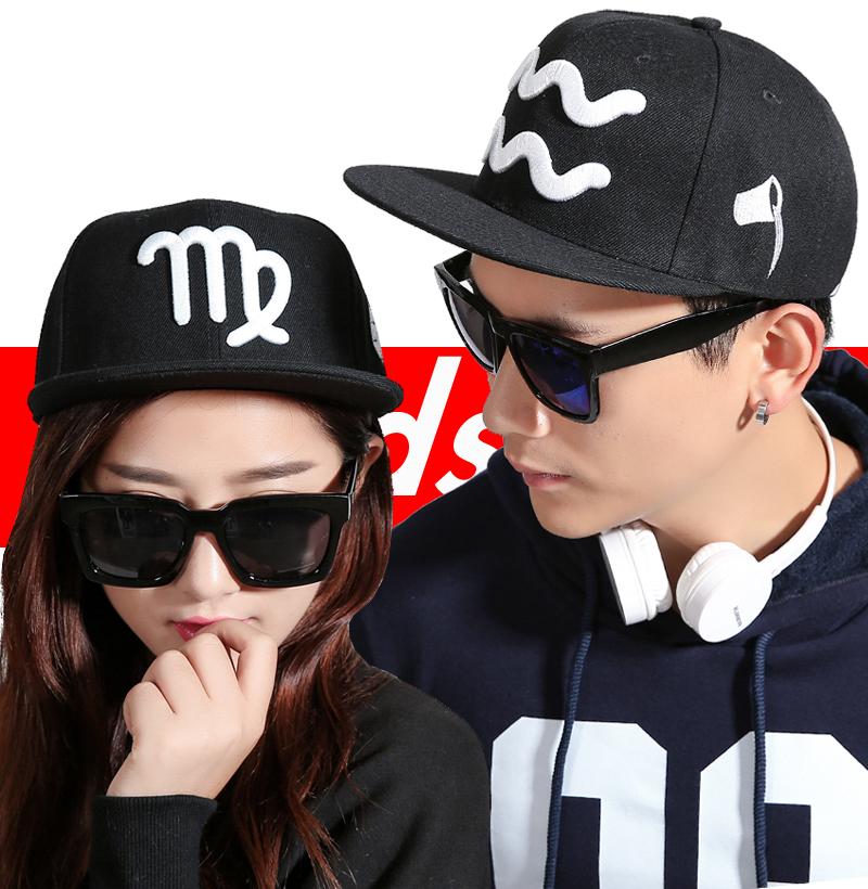 韩版12十二星座帽子 男女帽子春夏棒球帽平沿帽嘻哈帽滑板街舞帽