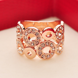 Silver enrichment jewelry ripples Japan and South Korea rose gold plated decorative fashion female index finger ring exaggerated influx of European and American Ring