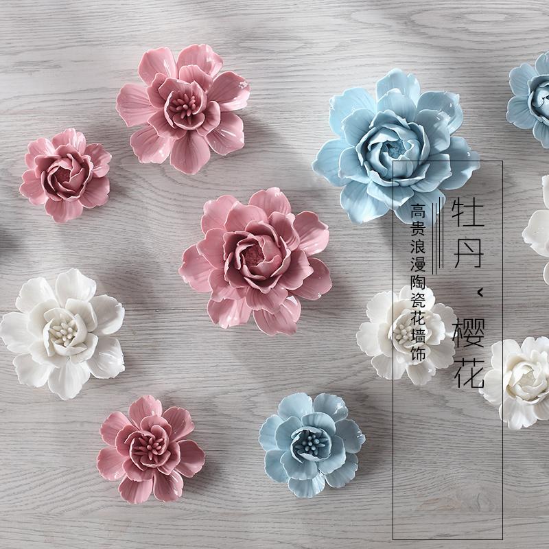 Керамические цветок украшения стерео стены висит стены TV фон настенные росписи идеи гостиная спальня украшения стены