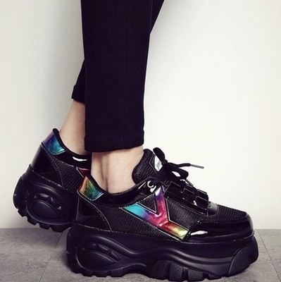 2015 new women's shoes in the spring and autumn female Japanese han edition Jin Hongkang platform shoes in Europe and the streets of low help sport casual shoes