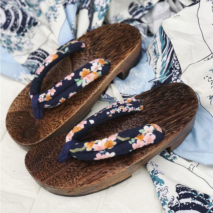 珍凡妮橡胶底防滑高跟日本日式木屐木拖鞋人字拖半月木屐女