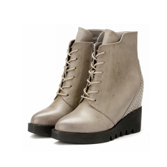 2015 new round-headed high heel wedges winter thick-soled platform boots women rivet belt increased short boots