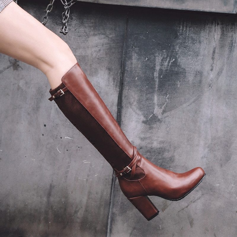 Extra large womens boots, horse boots, high boots and knee boots, medium length, large high heels, thick heels 40-43 41 42