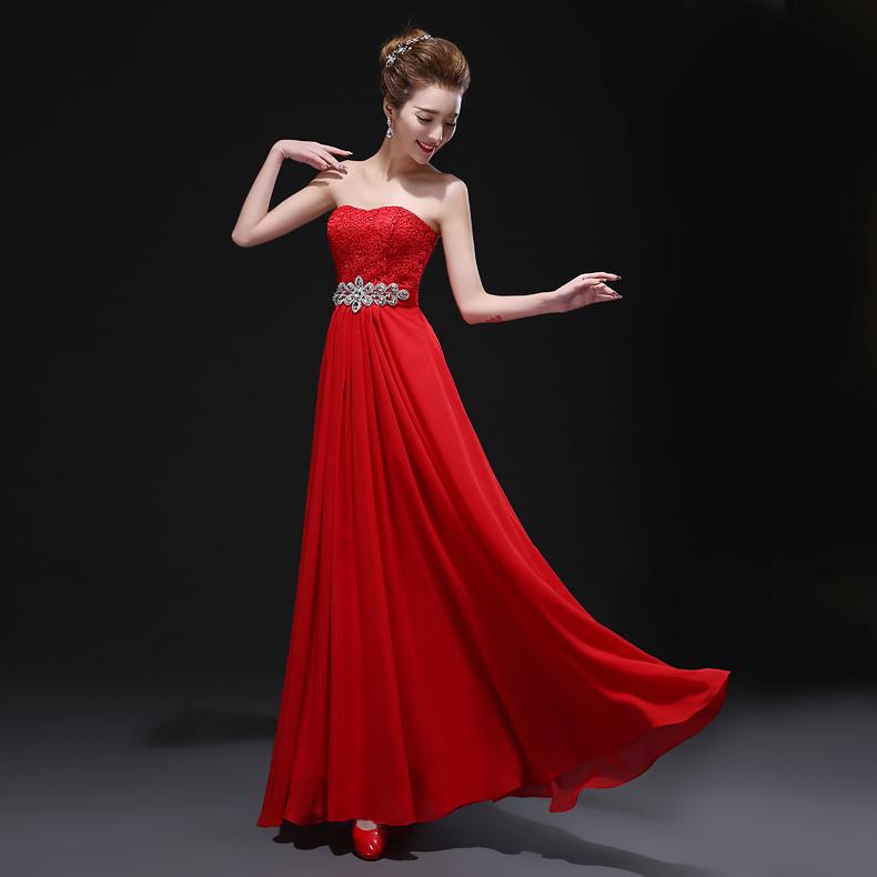 2015 мода новый стиль свадебное платье платье невесты труба top весны Banquet тост одежда вечерние платья платья красный