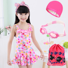 Children swimsuit girl conjoined cute princess skirt type baby little Chinese girl swimsuit girl swimsuit
