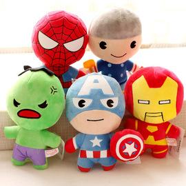 Q版复仇者联盟毛绒公仔美国队长蜘蛛侠蝙蝠侠玩偶男孩玩具批礼品图片