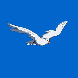 斜45度飞行的鸟类白鸽海鸥手绘逐帧flash动画源文件图片