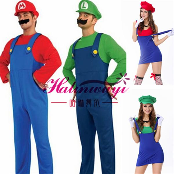 Cosplay night club DS womens show Costume Halloween Disney couple Super Mario Luigi