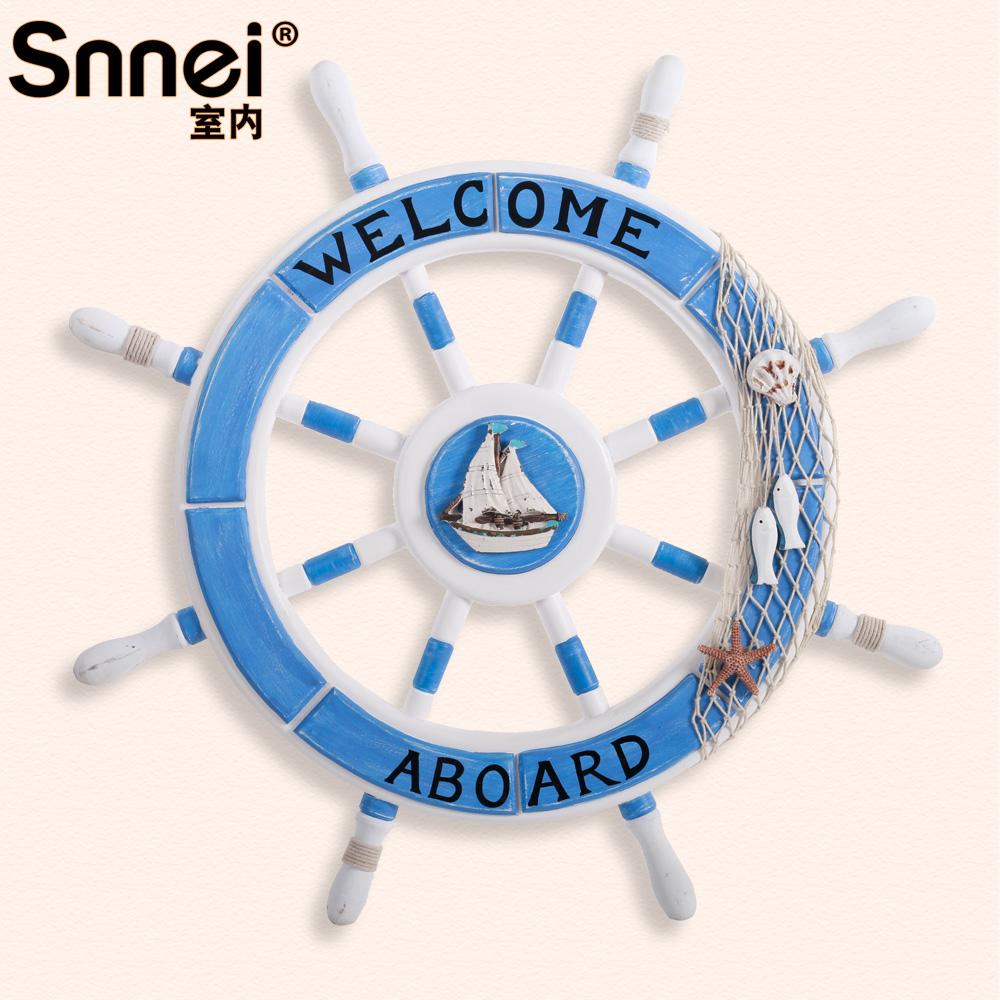 Snnei 地中海實木質船舵手裝飾 牆飾掛飾 客廳牆上壁飾掛件