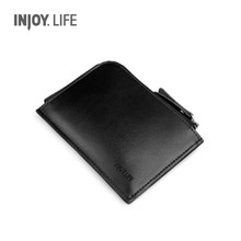 Injoylife male cow leather bag zipper card pickup larger volume multi-function card bag change purse