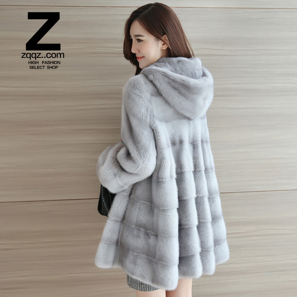 zqqz mink fur coat female 2016 winter new Haining long section hooded mink whole mink coat D138