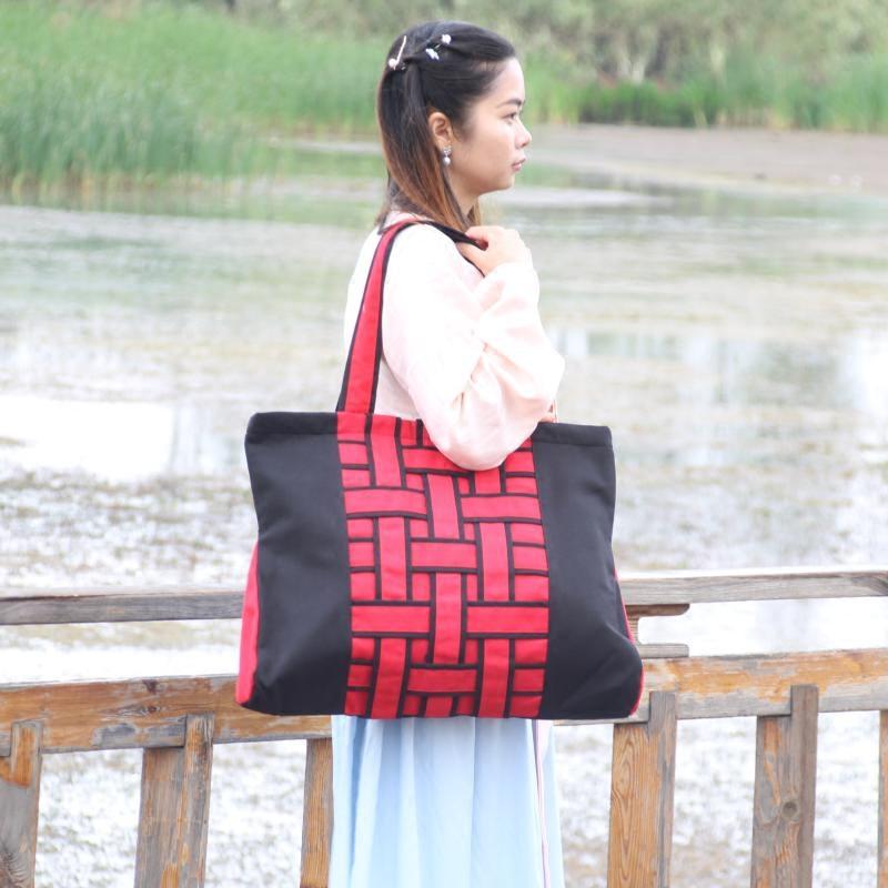 新款热销时尚民族风 经典黑红撞色加厚帆布包编织包女士单肩大包
