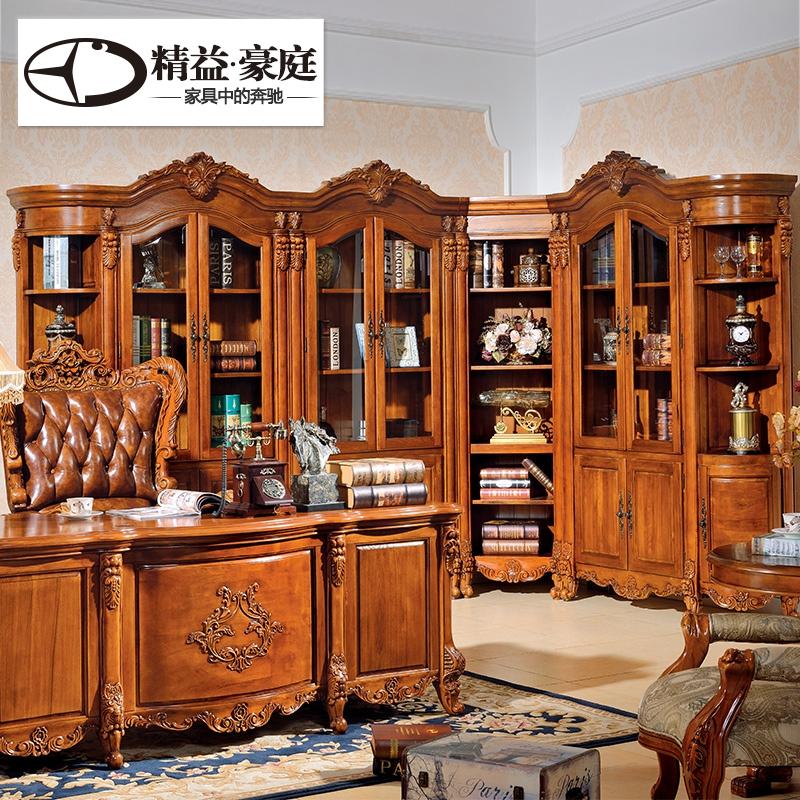 精益豪庭美式实木转角书柜美式书柜 实木组合玻璃门欧式书橱