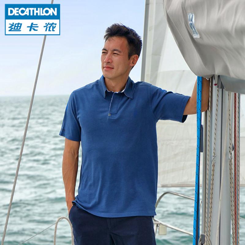 迪卡儂航海男士防曬棉質透氣彈性短袖 T恤POLO衫TRIBORD~B