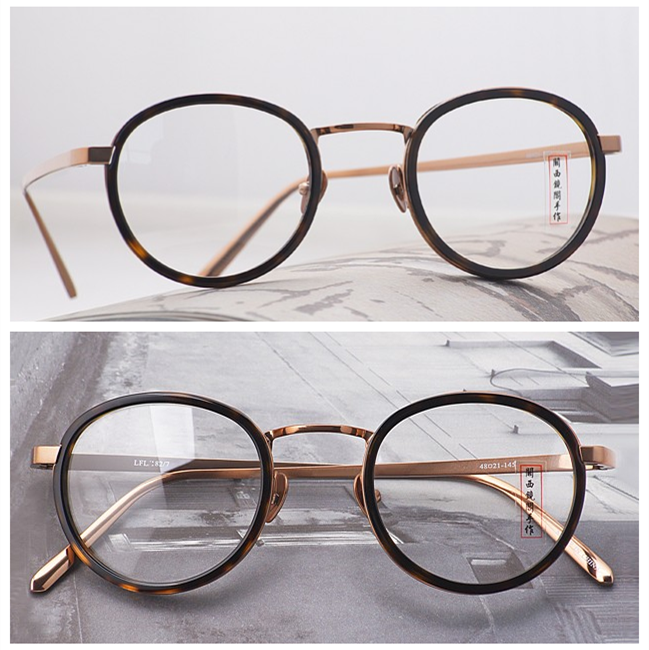 62683fb7d9d82 LINDAFARROW Japanese handmade gold glasses round lightweight titanium eyeglass  frame retro Republican Women