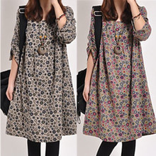 Han edition of new fund of 2015 autumn big yards fat younger sister easy leisure female literary small broken flower long sleeve cotton dress