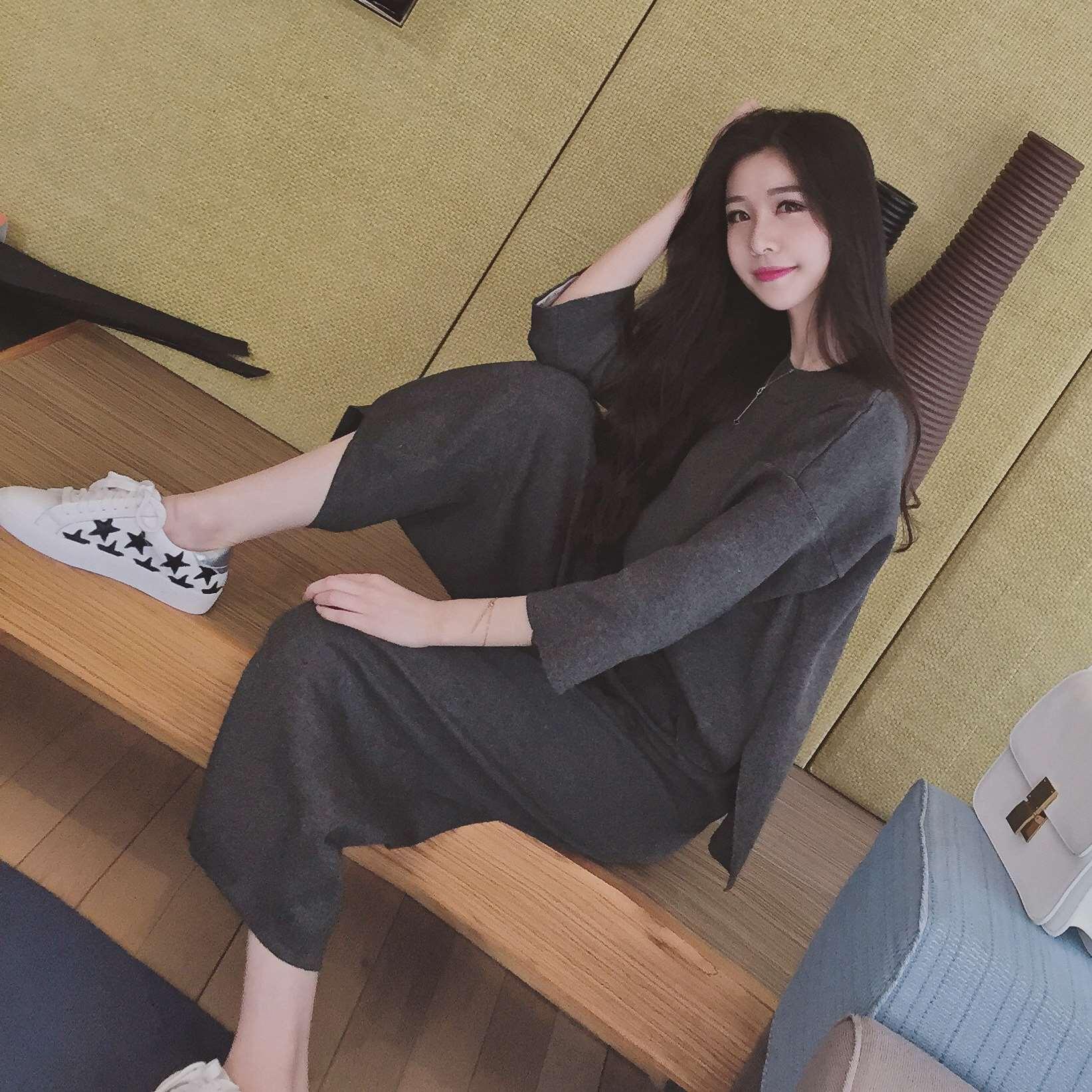 Весна/лето новых корейских женщин 2016 водолазка свитер Досуг Мода 2 + 9 широкий ноги брюки костюм