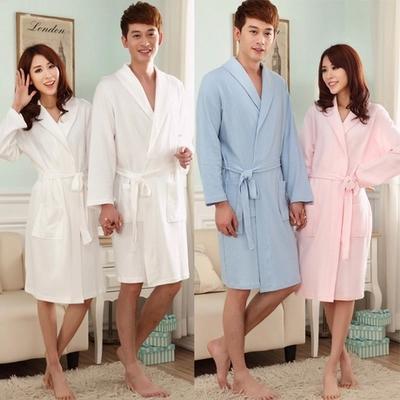 Хлопок из чистого хлопка вафельной любителей весной и летом робы ванной халаты мужчин и женской красоты пару одежды пижамы пятизвездочный отель пост
