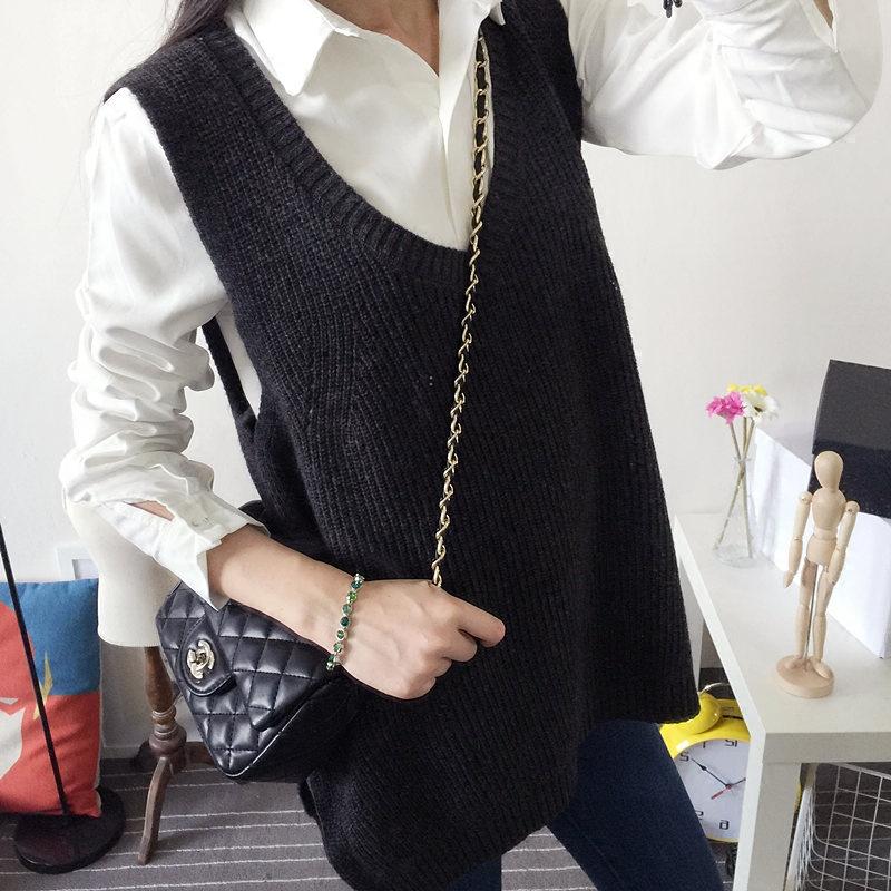 Корея девушка корейской версии loose свитер жилет свитер вязать жилет осенью 2015 года установлены новые длинные пальто куртки