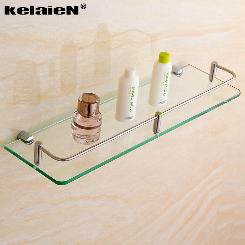 kelaien 304不鏽鋼置物玻璃架 衛浴 掛件浴室單層化妝平台架