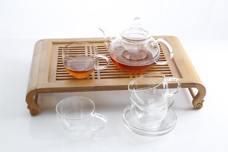 包邮朵彩精品高硼硅玻璃茶具套装陶瓷茶壶水杯套装厨房餐饮用具