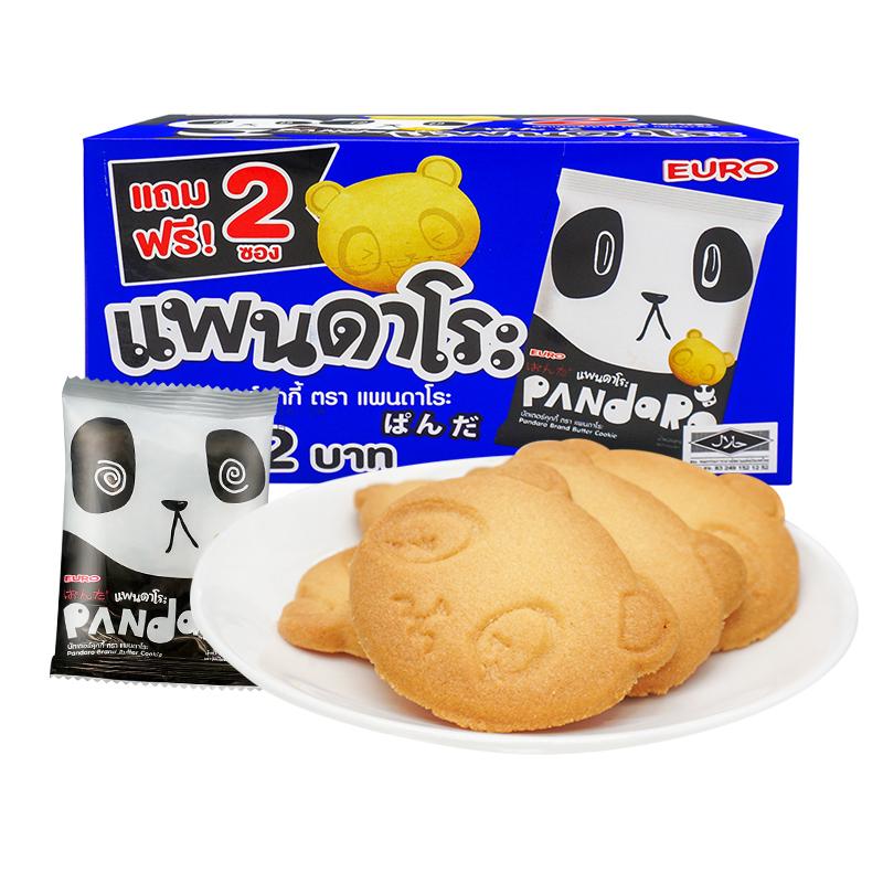 ~天貓超市~歐樂(泰國) 餅幹 EURO熊貓黃油曲奇182g 盒