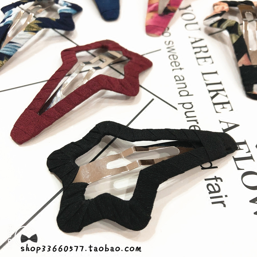 Hand wrapped fabric super large five pointed star star BB clip edge clip broken hair clip no paint off hair clip banger headdress