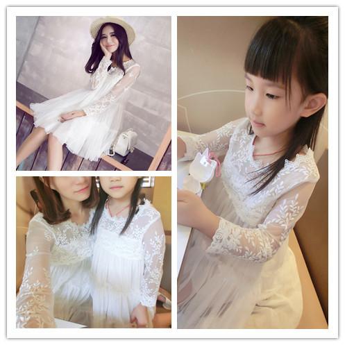 亲子装春装新款女装蕾丝长袖连衣裙短裙网纱蓬蓬公主裙母女装