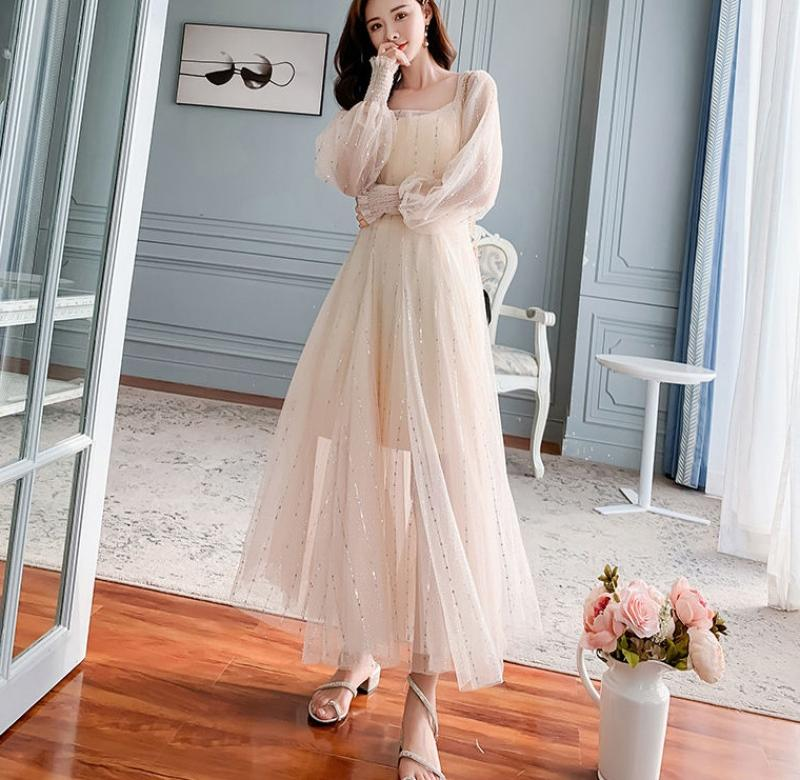 ? Early spring 2020 new French Chic gentle super FAIRY DRESS mesh Sequin dress long sleeve long skirt