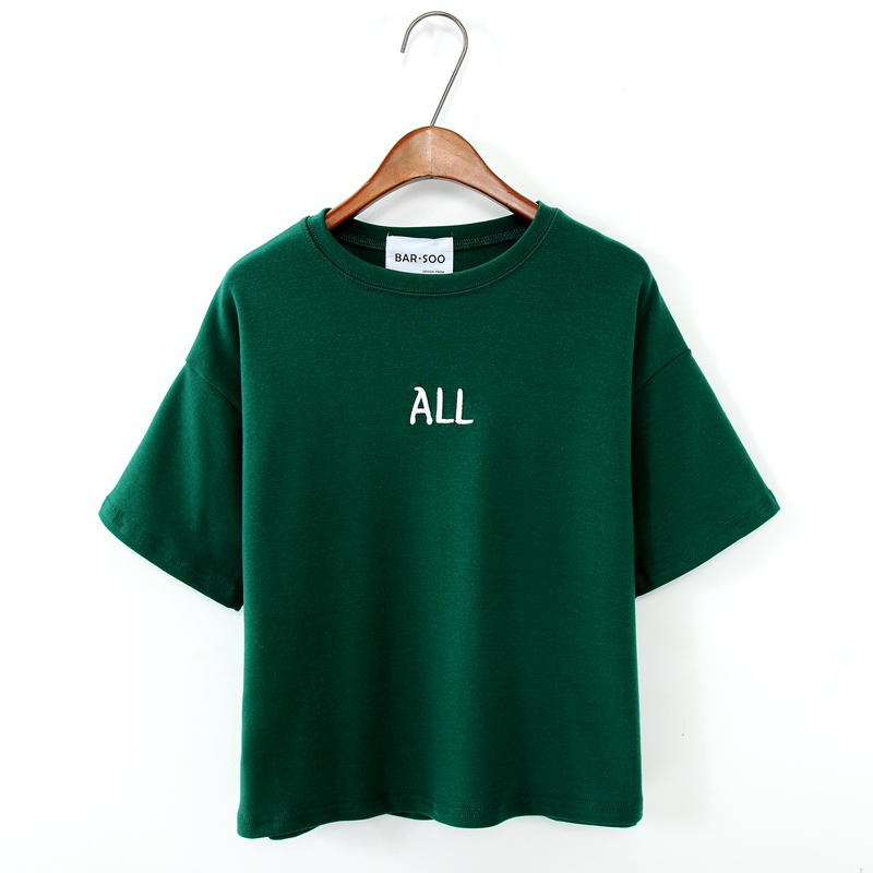 韩版ALL字母简约半袖体恤衫大码宽松圆领纯棉短袖T恤女款夏装短款