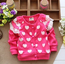 In the spring and autumn Han edition cardigan Long sleeve cardigan of the girls Children love cotton coat lace