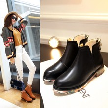 Fashion atmosphere 2015 new winter leisure square with color matching zipper boots after Chelsea bag mail boots short boots