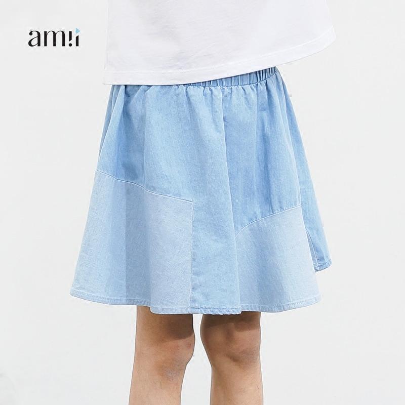 Amii ребятишки 2017 летний костюм новая девушка ребенок ковбой юбка в больших детей ребенок цвет блок коснуться хит A слово юбка