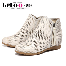 Betoo/Tuo shell Tuo increased 2015 fall within the new leather boots naked female boots hollow-out leisure shoes
