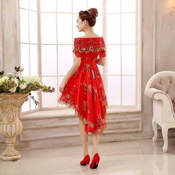 敬酒服新娘孕妇礼服红色结婚短款婚礼大码婚纱女高腰秋季2018新款
