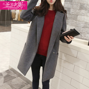 Winter-season coat woolen coat Girls long paragraph Korean version of the 2017 new South Korean students loose woolen clearance