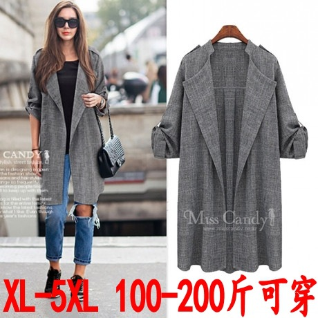 2015 году осенью Корейский новый XL плюс жира мм Ms моды сыпучих удобрений тонкие длинные пальто кардиган