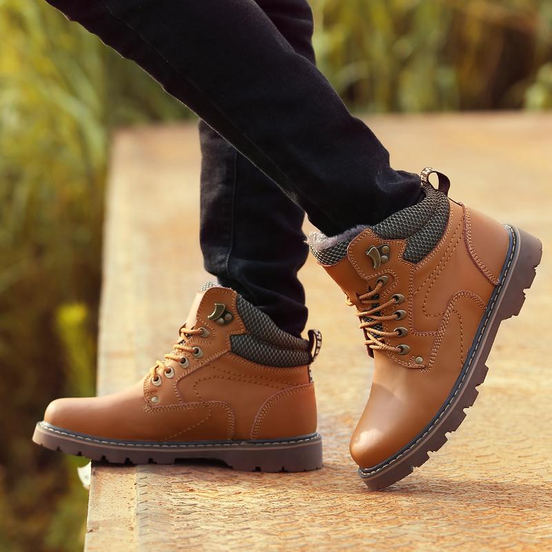 Теплая зимняя обувь для мужчин и бархатные сапоги au pair Англии прилив высока с пустынные ботинки армии сапоги Ма Dingchao мужские сапоги