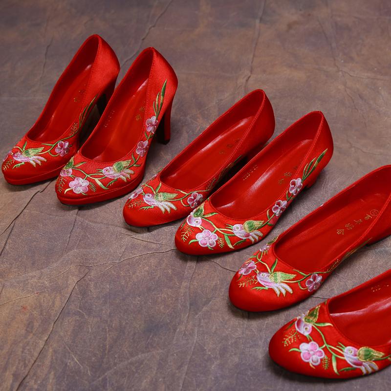 新娘繡花鞋秀禾服鞋旗袍鞋結婚鞋嫁鞋平底鞋中高跟鞋女士單鞋子