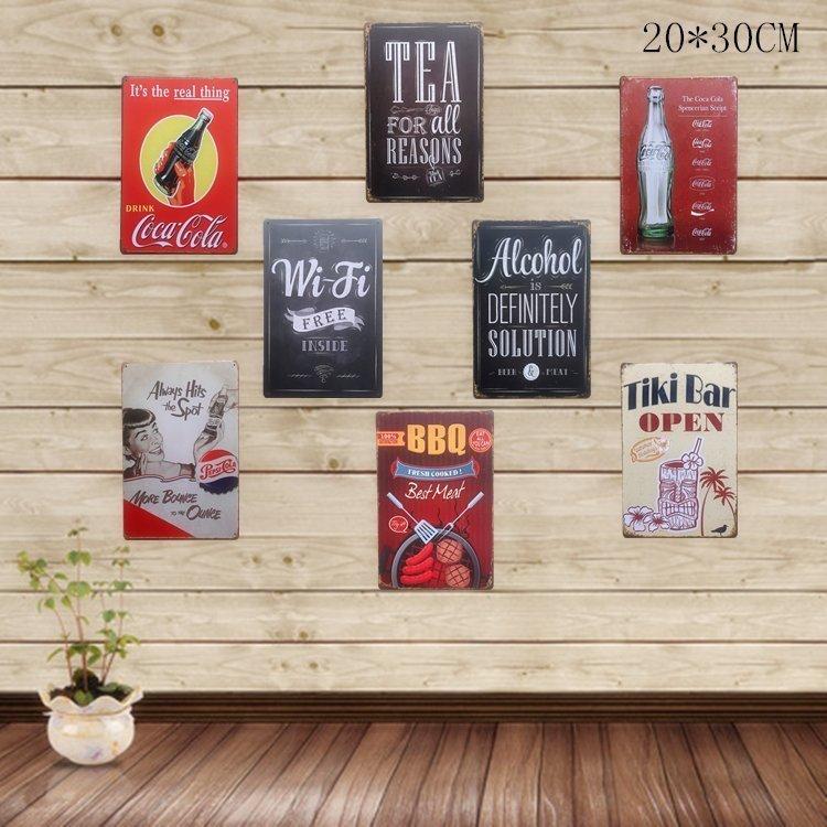 美式BBQ可乐WIFI壁饰酒吧餐厅墙面装饰创意室内工艺画田园风墙饰