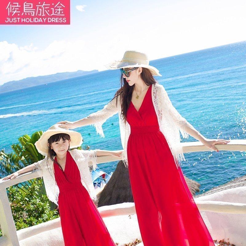 亲子装夏装2019新款潮沙滩开衫母女装全家装外套防晒披肩女童夏薄